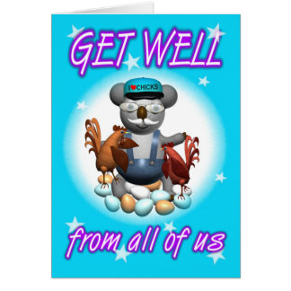 Cartoon Koala Chicken Get Well Card