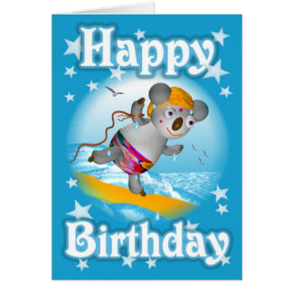 Cartoon Koala Happy Birthday Surfer Card-blank Card