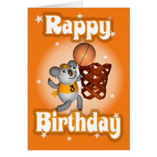 Cartoon Koala Playing Basketball Happy Birthday Card