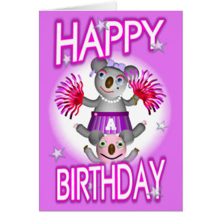 Cartoon Koala We Cheer 4U Birthday Card