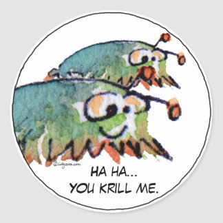 Cartoon Krill Funny Stickers - Customize Text