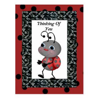 Cartoon Ladybug Thinking Of You Post Card
