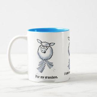 Cartoon lamb. For my grandson. I love you. Two-Tone Coffee Mug