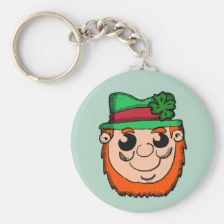 Cartoon Leprechaun Head Key Ring