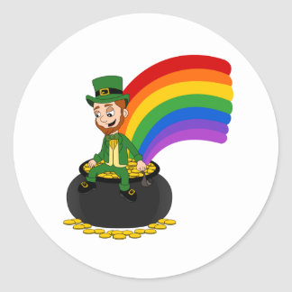 Cartoon leprechaun sitting on a pot of gold round sticker
