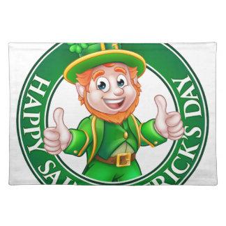 Cartoon Leprechaun St Patricks Day Sign Placemat