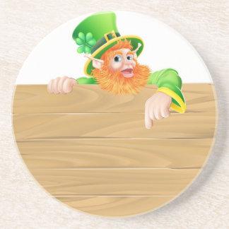 Cartoon Leprechaun Wooden Sign Coaster