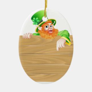 Cartoon Leprechaun Wooden Sign Christmas Tree Ornament