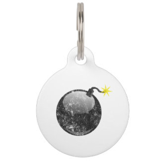 Cartoon Letterpress Style Bomb Pet ID Tags