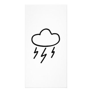 Cartoon Lightning Bolts in Cloud Photo Card
