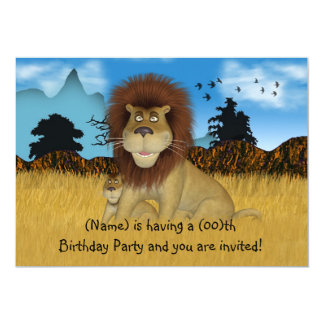 Cartoon Lion Childs Birthday Invitation