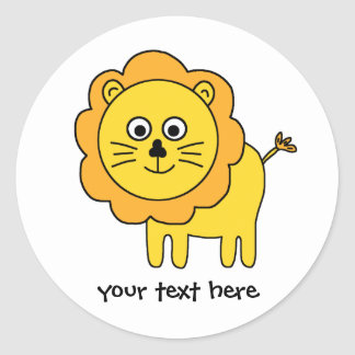 Cartoon Lion Classic Round Sticker