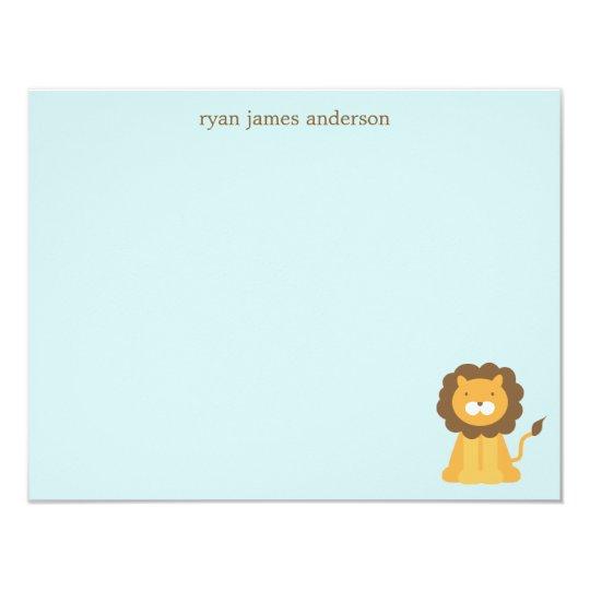 Cartoon Lion Custom Flat Thank You Notes Card