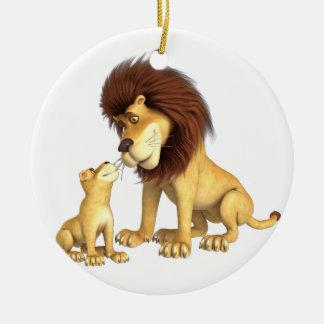 Cartoon Lion Father & Son Ceramic Ornament