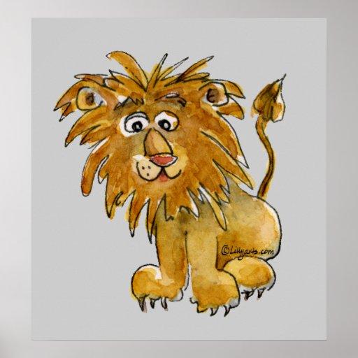 Cartoon Lion Poster Print