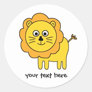 Cartoon Lion Round Sticker