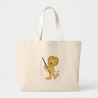 Cartoon Lion With A Fishing Pole Jumbo Tote Bag