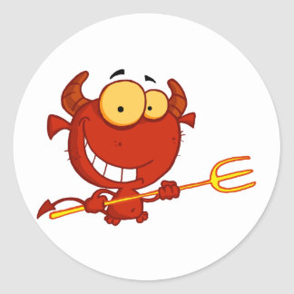 Cartoon Little Devil With Pitchfork Classic Round Sticker