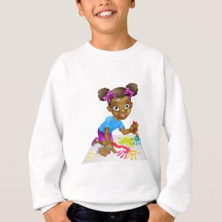 Cartoon Little Girl Painting Sweatshirt