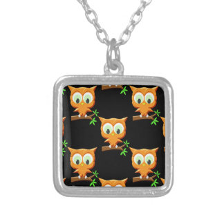 Cartoon Little Owl On Branch Pattern Silver Plated Necklace