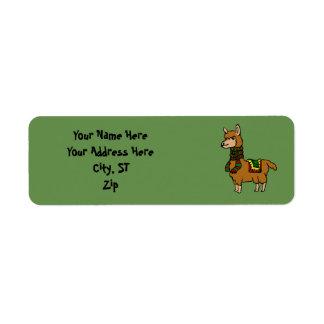 Cartoon Llama Return Address Label