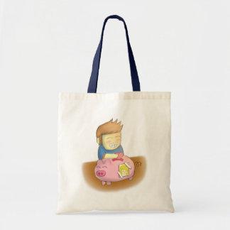 cartoon, love piggy bank budget tote bag
