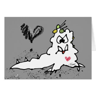 Cartoon Love Slug Monster Greeting Cards