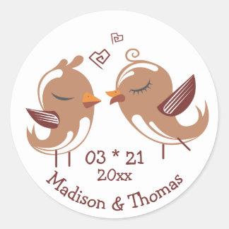 Cartoon Lovebirds Personalized Brown Wedding Birds Classic Round Sticker
