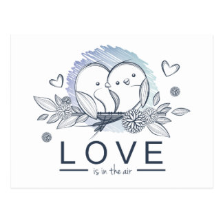 Cartoon Lovebirds Purple  Love Wedding Postcard
