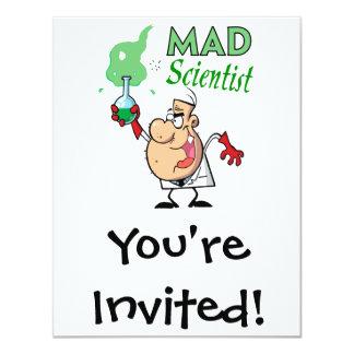 cartoon mad scientist 11 cm x 14 cm invitation card
