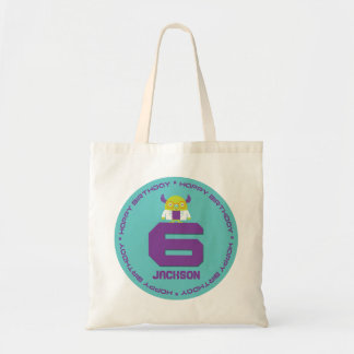 Cartoon Mad Scientist Aqua Happy 6th Birthday Budget Tote Bag