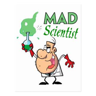 cartoon mad scientist postcard