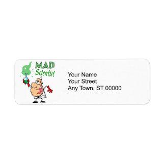 cartoon mad scientist return address label