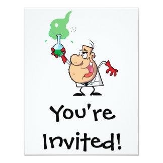cartoon mad scientist with potion 11 cm x 14 cm invitation card