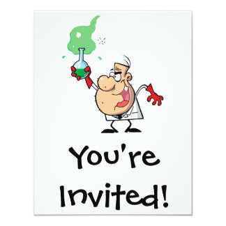 "cartoon mad scientist with potion 4.25"" x 5.5"" invitation card"