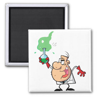 cartoon mad scientist with potion refrigerator magnets