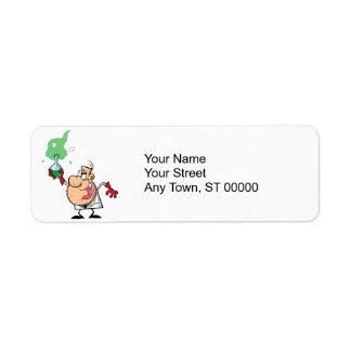 cartoon mad scientist with potion return address label