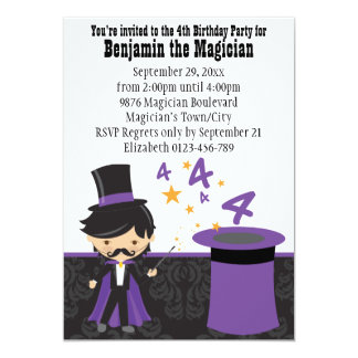 Cartoon Magician with Magic Hat 4th Birthday 13 Cm X 18 Cm Invitation Card