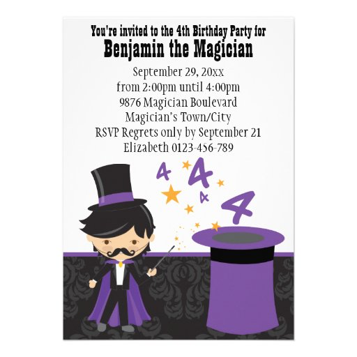 Cartoon Magician with Magic Hat 4th Birthday Announcement