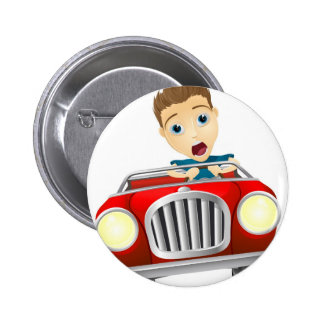 Cartoon man driving fast car pinback button