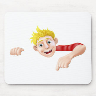 Cartoon Man Pointing Mousemats