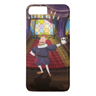 Cartoon man reciting shakespeare play. iPhone 7 plus case