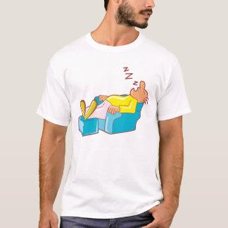 Cartoon Man Sleeping In Lounge Chair ZZZ T-Shirt