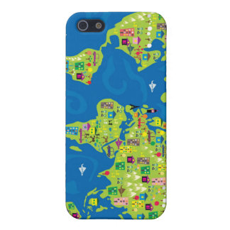 Cartoon Map of the World Cases For iPhone 5