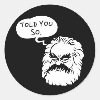 Cartoon Marx I Told You So Sticker (Black)