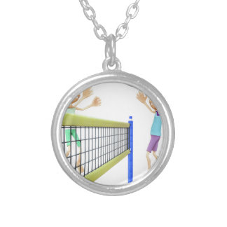 Cartoon Men Playing Volleyball Silver Plated Necklace