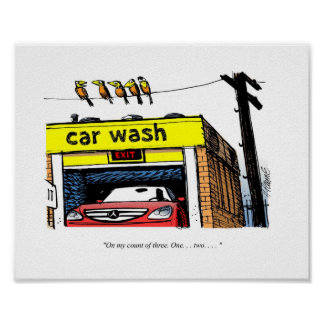 CARtoon Mercedes Car Wash Birds Poster