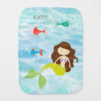Cartoon Mermaid Baby Burp Cloth