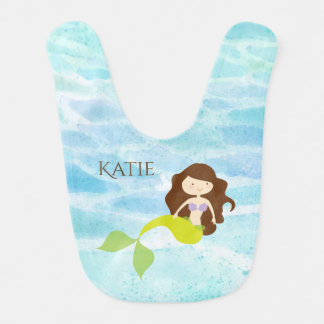 Cartoon Mermaid Personalized Baby Bib