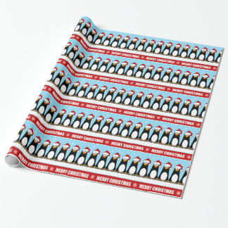 Cartoon Merry Christmas Penguins in Snow Pattern Wrapping Paper